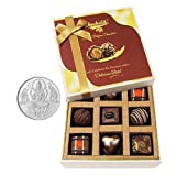 Chocholik Belgium Chocolates - 9pc Special Love Combo Wishes With 5gm Pure Silver Coin - Diwali Gifts