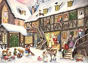 Santa in Village German Christmas Advent Calendar by Sellmer Verlag