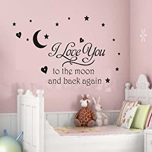 see Decals I love You to Moon Wall Stickers Decal Removable Craft Wall Art Deco Decor Mural Sticker Decal from Newsee Decals