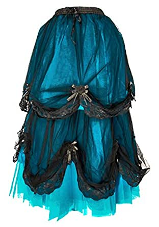 Dark Star Long Black Blue Satin Rose Gothic Medieval Fairytale Skirt S-2X Plus Size