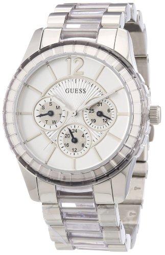 Guess W13582L2 - Reloj analógico de cuarzo para mujer con correa de acero inoxidable, color plateado