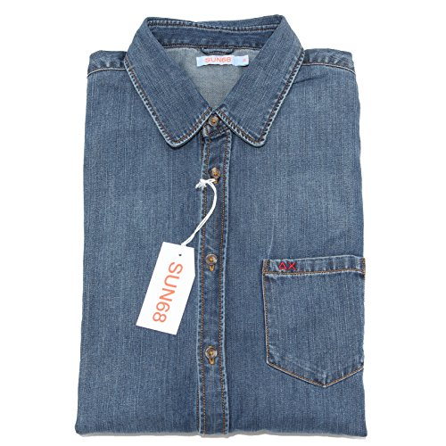 5110M camicia jeans uomo SUN 68 manica lunga men shirts [M]