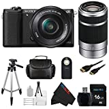 Sony a5100 16-50mm Interchangeable Lens Camera with 3-Inch Flip Up LCD with 16-50mm + Sony E 55-210mm F4.5-6.3 Lens for Sony E-Mount Cameras (Silver) + Pixi-Basic Accessory Bundle