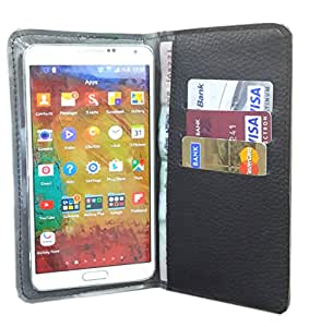 nKarta ™ Color Black Jelly Wallet Pouch in Soft Inner Fiber Mobile Cover Case with Card holder Slots for Micromax Bolt A35