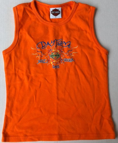 Harley Davidson, Motor Cycles, Daytona Beach Florida, Bike Week 2002, Orange Shirt Small