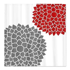 CafePress Zen Flowers Gray Red Shower Curtain Standard White H