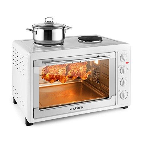 Klarstein Masterchef 60 - Mini four de 60L avec nombreux accessoires et 2 plaques de cuisson 1600W (2500W, grill, broche) - blanc