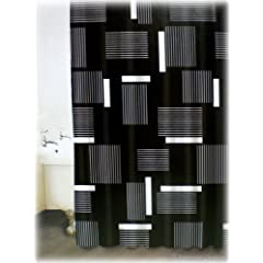 Black and white striped shower curtain black and white decor for Black and white striped bathroom accessories