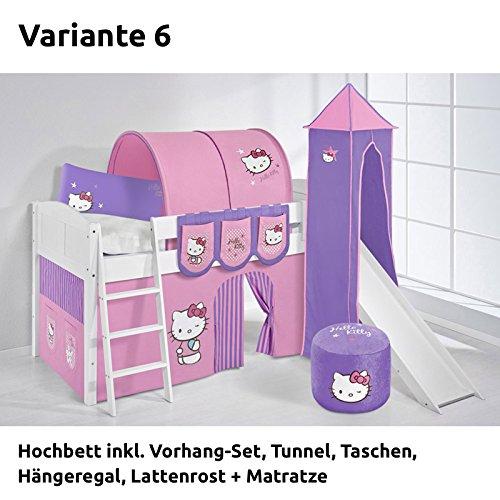 Hochbett Spielbett IDA Hello Kitty Lila, mit Turm, Rutsche und Vorhang, weiß, Variante 6 günstig