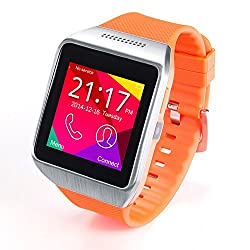 Pugo Top R750 Bluetooth Smart Watch R750 Wristwatch Android Gear Smartphones for Android (Silver+Orange)