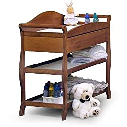 Storkcraft - Aspen Changing Table with Drawer - Cognac - Nursery Room - Home Furniture - Elegant Curved Lines and Sturdy Build - Three Shelves - Drawer Has Metal Glides for Smooth Motion - 1 Year Product Warranty