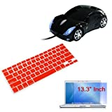"Red Soft Keyboard Silicone Cover + Clear Screen Protector + Black USB Car Mouse for Apple Macbook 13.3"" Laptop"