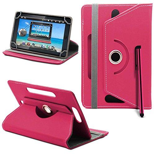 Prestigio MultiPad 8.0 Pro Duo Tablet Neues Design Universelle um 360 Grad drehbare PU-Leder Designer bunte Hülle mit Standfunktion - Cover - Tasche - Rosa / Plain Pink Von Gadget Giant®