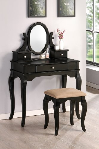 Black Finish Wood Vanity with Bench Mirror & Jewelry Boxes