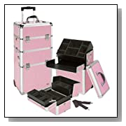 Seya 2 in 1 Professional Rolling Makeup Case Comsetic Organizer Kit - Pink Gator