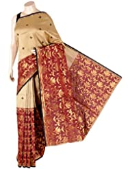 IndusDiva Pure Georgette Beige and Maroon Tussar Silk and Banarasi Saree