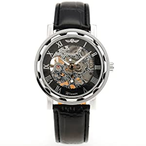 AMPM24 New Silver Skeleton Analogue Black Leather Mechanical Mens Watch