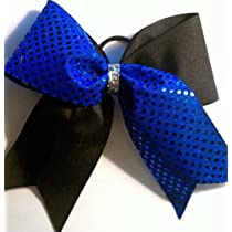 Black Metallic with Royal Blue Sequins and Black Center - 3 Inch Wide - Half and Half BOW (picture does not show Black metallic)