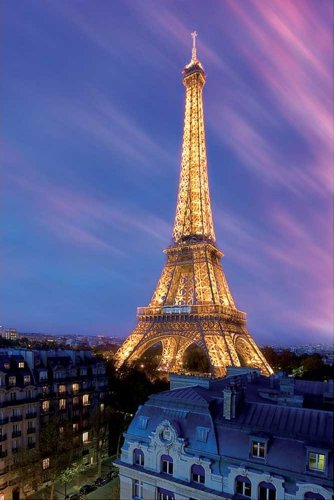 Eiffel Tower at DuskParis, Photography Poster Print, 24 by 36Inch Picture
