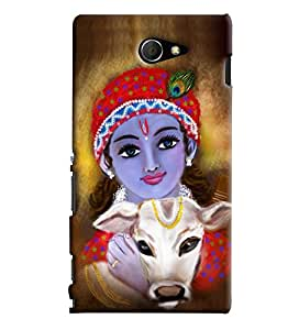 Blue Throat Krishna With Cow Printed Designer Back Cover/ Case For Sony Xperia M2