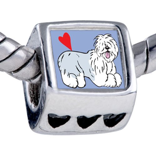 Pugster Silver Plated Photo Bead Old English Sheepdog Animal Beads Fits Pandora Bracelet