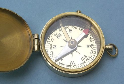 Antique Brass Medium Pocket Compass