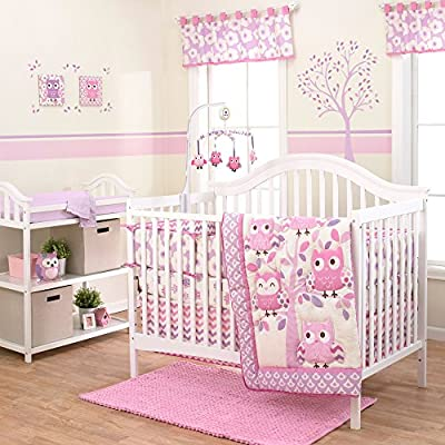 Purple and Pink Chevron Owl Crib Bedding Set for Girl by Belle