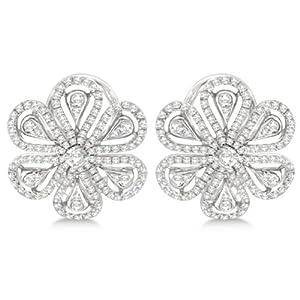 1.02ct Unique Floral Design Diamond Earrings Omega-back Huggies 14kt White Gold