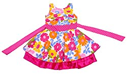 Kilkari Kid's Cotton Pleated Sleeveless Frock_Fushia_5-6 YRS
