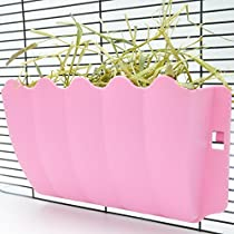 HamsFam Wall-Mounted Hay Manger Feeder with Quick Locks, Rabbit and Guinea Pig Feeder (Pink)