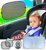 Coche Ventana sombra 3Pack by HS Essential. Incluye 2x Window Shade Baby & 1x Parabrisas Shade para Ultimate Protección para su bebé y de coche de rayos UV dañinos. Incluye bolsa de almacenamiento fácil y eBook