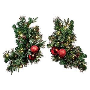 Amazon.com - Regal Pre-Lit LED Christmas Corner Door Swags-Set of 2 -