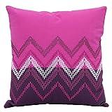 Elan Cotton Cushion Covers Ikat Purple Embroidery Cushion Cover 40 X 40 CM (Purple)
