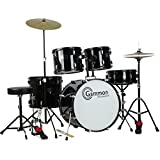Gammon Percussion Full Size Complete Adult 5 Piece Drum Set with Cymbals Stands Stool and Sticks, Black