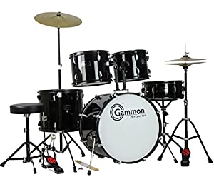 New Drum Set Black 5-Piece Complete Full Size with Cymbals Stands Stool Sticks