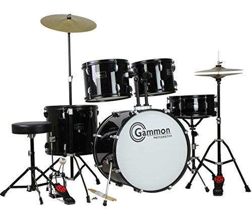 gammon-percussion-full-size-complete-adult-5-piece-drum-set-with-cymbals-stands-stool-and-sticks-bla