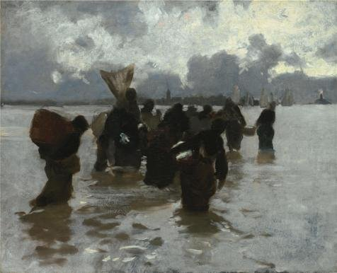 The High Quality Polyster Canvas Of Oil Painting 'John Singer Sargent,Fisherwomen Returning,about 1877' ,size: 16x20 Inch / 41x50 Cm ,this Vivid Art Decorative Canvas Prints Is Fit For Gym Decor And Home Decoration And Gifts (Cake Decoration Accesories compare prices)