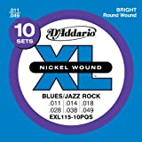 D'Addario EXL115-10P Nickel Wound 11-49 Medium/Blues-Jazz Rock Electric Guitar Strings Quick Ship Box (Pack of 10)