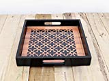 Geometrical print Moroccan Pattern wooden tray resin finish lacquered frame no glass square serving tray gift 10X10 inches