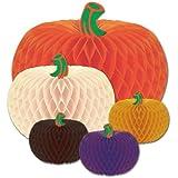 Beistle 5-Pack Packaged Designer Tissue Pumpkins, Assorted