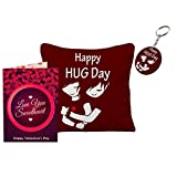 Sky Trends Valentine Day Girls Gifts and Boys Gifts Love Quotations Printed 12x12in Cushion Cover With keychain Greeting message Card For Rose Day Hug day Promise Day Propose Day Set054