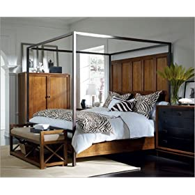 Stanley Furniture Continuum Metal and Wood Canopy Bedroom Set