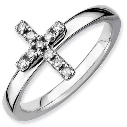 Diamond Cross Stackable Ring 1/10ctw - Size 7