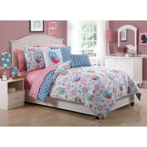 Cute 8Pc Pink Blue White Girls Dots Flower Fun Bed In Bag Comforter Set Sheets front-888757
