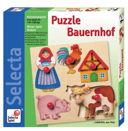 Picture of Selecta Farmyard Wooden Peg Puzzle (B0002HWDGA) (Pegged Puzzles)