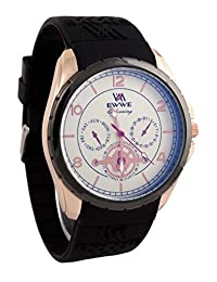 Addic EWWE Stylish Laser Cut Dark Blue Bezel And Gold Case With Black Strap And White Sports Dial Watch For Men...
