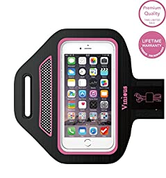 Armband Vinious Premium Armband Water and Sweat Resistant Sport Exercise Armband for iPhone SE, 6, 6S, 5, 5S, 5C, iPod Touch, Samsung Galaxy S3, S4 (Pink)