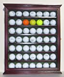 49 Novelty Golf Ball Display Case Cabinet Shadow Box, with glass door, Cherry Finish