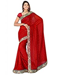 Sehgall Saree Indian Bollywood Designer Ethnic Professional Designer Georgette With Viscose Butti Maroon