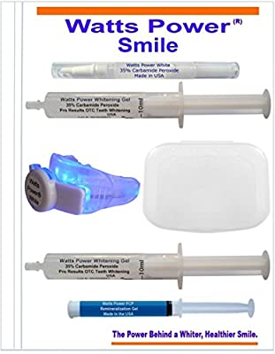 Watts Power 35% Teeth Whitening Kit - Premium Kit Includes 2 Large 10ml Whitening Gels, Bonus Brush Tip Whitening Pen, LED Light Plus Tray Combo, Tray Container, Aftercare Gel and Zip Tote